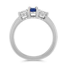 Oval Sapphire and Round Diamond Three-Stone Ring