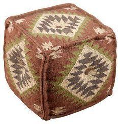 Karla Kilim Pouf, Sienna, Sage, Ivory and Charcoal Gray -- This useful piece is just the rustic touch you've been looking for. Use it as a footrest or a seat or top it with a tray for an extra surface.