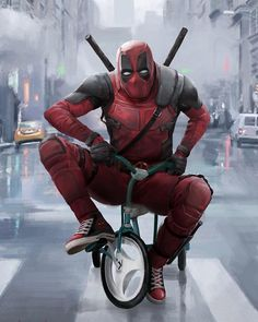 DeadPool riding a tricycle on NYC street something silly for a laugh. DeadPool f. Deadpool Pikachu, Deadpool Art, Deadpool And Spiderman, Deadpool Funny, Deadpool Movie, Marvel Art, Marvel Heroes, Marvel Comics, Marvel Avengers