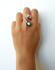 Silver Avant Garde Ring with Pearl Ruby & Emerald   by artemer, $480.00