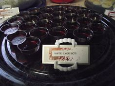 True Blood Party Glamour Jello Shots @ Northman's Party Vamps - inspiration - use plastic vampire teeth to hold buffet cards