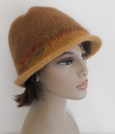 Wool Felted  Hat Hand Knit Cloche for Women by MaggiesInn on Etsy