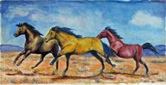 Galloping Mustangs, Southwest Equine Original Watercolor Painting | HosslassArt - Painting on ArtFire