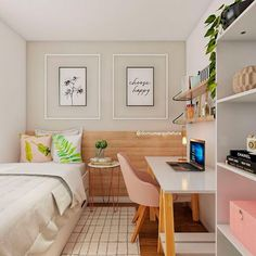 Design of yet another multifunctional home office we have developed! With space for . - Home Decor Room Ideas Bedroom, Teen Room Decor, Small Room Bedroom, Home Decor Bedroom, Tiny Bedroom Design, Small Room Design, Home Room Design, Aesthetic Room Decor, Inspiration