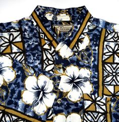 Mens Shirt - Size Large, M. E. Sport, Tropical Floral Print in Blues, Brown, Gold, White, & Black $15.00