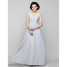 Lanting+A-line+Mother+of+the+Bride+Dress+-+Silver+Floor-length+Sleeveless+Chiffon+–+USD+$+107.99