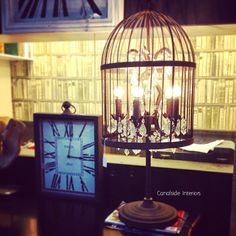 Vintage Birdcage Table Lamp 90cm - Canalside Interiors