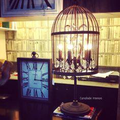 Vintage Birdcage Table Lamp 90cm - Canalside Interiors