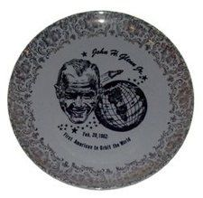 This plate was made to commemorate Glen's flight in Friendship 7 in 1962. Like most historic events, manufacturers are quick to promote and profit from this one, mass producing items from John Glen lunch boxes to ashtrays. - See more at: http://blog.valuethisnow.com/posts/john-glenn-space-flight-memorabilia#sthash.wNRAX91k.dpuf