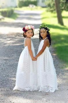 7b10d32a444 2018 Cheap Halter Beach Boho Flower Girls Dresses For Weddings Full Lace  Sleeveless Backless Floor Length First Communion Dress Custom Made  Christening ...