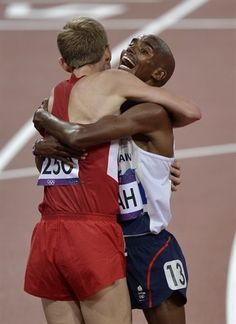 Day 8: Track & Field Evening Session - Track & Field Slideshows | Britain's Mo Farah, right, celebrates winning gold with silver medallist Galen Rupp of the United States following the men's 10,000-meter final.  (Photo: Martin Meissner / Associated Press) #NBCOlympics