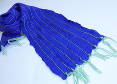 Wool scarf for men cobalt blue stripe scarf felted by Katrinmania
