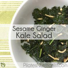 Sesame Ginger Kale Salad - kale, ginger, sesame oil, lime juice/lemon ...