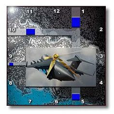 An Airplane in Flight with Blue and Turquoise Tones Layered on Posturized Background Wall Clock