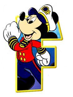 Alfabeto de personajes Disney con letras grandes F Mickey capitán.