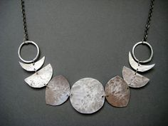 Many Moons- Moon Phase Necklace- Hammered Metal Moon Bib Necklace $65