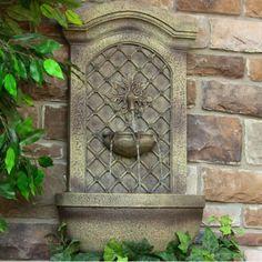 Rosette Outdoor Solar Wall Water Fountain Florentine Stone Lawn Garden Decor New