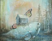 Limited edition fine art walrus print. Reproduction of original mixed media blue walrus, butterfly painting on wood with resin