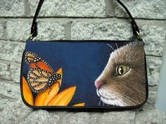 Small Clutch bag purse Cat 541 Butterfly Flower blue art painting by L.Dumas #Unbranded #Clutch