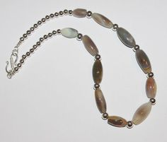 Handcrafted Gray and Silver Gemstone Necklace  by SCLadyDiJewelry