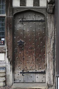 Shakespeare Door Photography England Wall Art British Photography Stratford Upon Avon Historic United Kingdom Art Medieval Architecture Medieval Door, Medieval Houses, Rustic Doors, Wooden Doors, Castle Doors, Knobs And Knockers, Cool Doors, Antique Doors, Entrance Doors