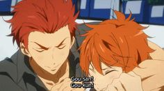 LoL the Mikoshibas, both in love with Gou, both offending Rin's big-brother sense.