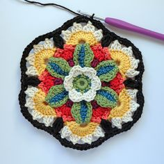 Today sees the release of the final hexagon block motif for the Frida's Flowers Blanket.   This block is placed at the centre and top and b...