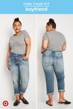 """Model is 5'8.5"""" and wears Plus size 16. A relaxed fit makes straight-cut jeans the perfect pick for outfits in need of a little laid-back style. Faded washes and distressed whisking help to make legs look slimmer and longer, so the fit never feels too bulky or slouchy. Wear them cuffed and show off your favorite pair of slides or block heels to easily dress up your outfit."""