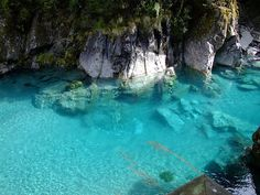 Blue, blue waters    Blue pools, in the Southern Alps off the Haast Pass road.  South Island, New Zealand  October 2006  www.flickr.com/photos/sbisson