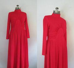 Red Maxi Dress Vintage 1970s Long Sleeve by rileybellavintage
