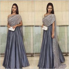 Indian bridal dupatta draping 25 ideas for 2019 Party Wear Indian Dresses, Indian Fashion Dresses, Designer Party Wear Dresses, Indian Gowns Dresses, Dress Indian Style, Indian Designer Outfits, Indian Wedding Outfits, Indian Outfits, Pakistani Dresses