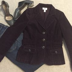 Ann Taylor Loft burgundy jacket Burgundy corduroy jacket,button detail on cuff & back,w/2 seams on the back to make the jacket more fitted.worn just a few times,this is the color of the season.size 4 petite.excellent condition LOFT Jackets & Coats Blazers