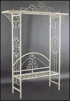 A White Painted Metal Arbor Bench Lot 134 1029