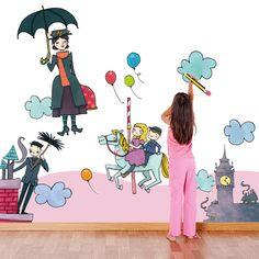 R00130 Adesivo Mary Poppins di Wall Art - Adesivi Murali su DaWanda.com