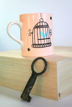 Coffee mug, Birdcage, 10 oz mug, pottery coffee mug, hand painted, stocking stuffer, functional ceramics, mug, gift by BigGrayHorse on Etsy