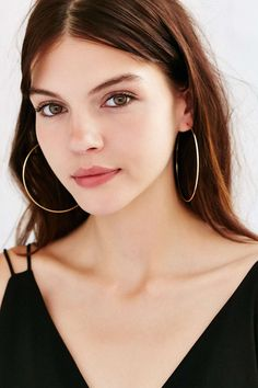 Sterling Silver + 18k Gold Plated Rachel Large Hoop Earring - Urban Outfitters Fashion Tips, Fashion Design, Silver Hoop Earrings, Womens Fashion, Outfits, How To Wear, Silver Color, Accessories, Clothes