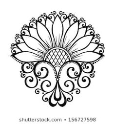 Stock Photo and Image Portfolio by. Stencil Patterns, Zentangle Patterns, Painting Patterns, Pattern Art, Vector Pattern, Free Pattern, Tatoo Henna, Henna Tattoo Designs, Henna Art