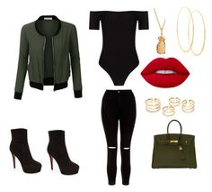 """""""Untitled #60"""" by chrissymyrick on Polyvore featuring LE3NO, New Look, Christian Louboutin, Hermès, Lime Crime and Lana"""