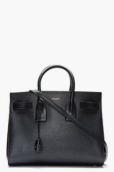 Saint Laurent Navy Mini Sac De Jour Carry-all Bag for women | SSENSE