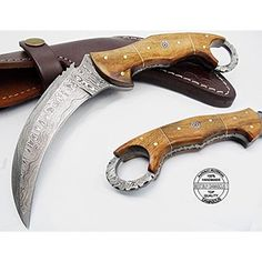 Beautiful Rose Wood 8.2''Fixed Blade Handmade Damascus Steel Hunting Knife .100% Prime Quality