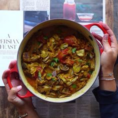 Persian Eggplant Stew (Khoresh Bademjan) made with golden turmeric, rose water soaked saffron, plump raisins, and caramelized stringy onions, in an unequivocally divine tomato based broth (#vegan) // inmybowl.com