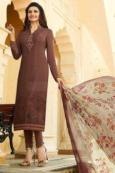 Dark Brown Crepe Churidar Suit Price - £56.00 Occasion	Party Wear, Wedding Wear, Festival Wear, Ceremonial Color	Brown Fabric	Crepe, Chiffon Discount	21%-30% Work	Print, Embroidered, silk thread, Stone Time To Ship:	10 to 12 working days #bollywood #salwarkameez #fashion #style #collection #fabric #trendy #indianfashion #onlineshopping #pretty #london #fashionable #wedding #party #dress #ootd #shopkund #outfits