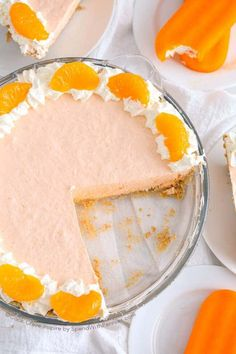 Creamsicle Pie is easy no bake dessert with creamy whipped topping and orange jello. This pie can be served soft or can be frozen!
