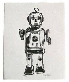 Robot linocut by 3fish studios | Flickr - Photo Sharing!
