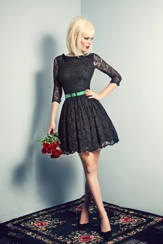 The exquisite and elegant black antique Dentelle Lace Picnic  dress. Gathered skirt is lined with soft full layers of ballerina tulle. The most covetable dress for the chic girl about town.  Add the classic leather biker jacket for a rock n roll edge.  Black Lace dress features 3/4 sleeves with a scalloped trim, soft gathering at skirt, a scalloped hem, concealed zip fastening at center back and is lined in partially visible black stretch corset net and tulle. Belt not included. #WishDesigns