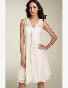 2014 Simple Stylish Sheath/ Column V-Neck Short Knee Length Reception Chiffon Wedding Dresses