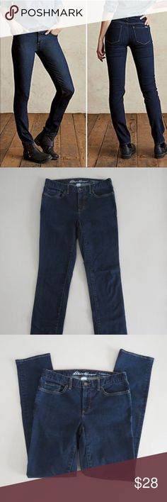 """Eddie Bauer Slightly Curvy Straight Leg Sz 6 Jeans Womens Dark Wash Eddie Bauer Jeans Fit: Slightly Curvy Leg: Straight Size 6, Inseam 33"""" Excellent Used Condition - Like New See other items you like in my closet?  Make a bundle and I'll send you an offer! Eddie Bauer Jeans Straight Leg"""