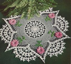 Rose Star Doily Crochet Pattern 21 inches Vintage 1950s