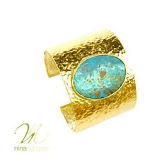 With the beach still on our mind, we bring you this beautiful tropical blue turquoise cuff bracelet by Nina Nguyen Designs