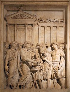 Bas relief from Arch of Marcus Aurelius showing sacrifice. Emperor Marcus Aurelius (161-180 AD) and members of the Imperial family offer sacrifice in gratitude for success against Germanic tribes. In the backgrounds stands the Temple of Jupiter on the Capitolium (this is the only extant portrayal of this roman temple). Bas-relief from the Arch of Marcus Aurelius, /wiki/Religion_in_ancient_Rome